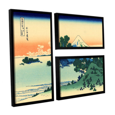 Brushstone Shichiri Beach In Sagami Province 3-pc.Flag Floater Framed Canvas Wall Art