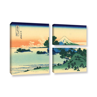 Brushstone Shichiri Beach In Sagami Province 3-pc.Flag Gallery Wrapped Canvas Wall Art