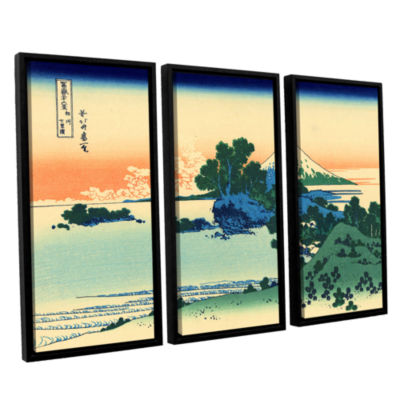 Brushstone Shichiri Beach In Sagami Province 3-pc.Floater Framed Canvas Wall Art