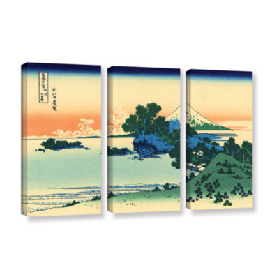 Brushstone Shichiri Beach In Sagami Province 3-pc.Gallery Wrapped Canvas Wall Art