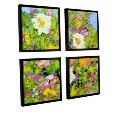 Brushstone San Souci Garden 4-pc. Square Floater Framed Canvas Wall Art