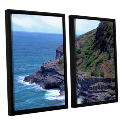 Brushstone Sea Cave And Nesting Boobies 2-pc. Floater Framed Canvas Wall Art