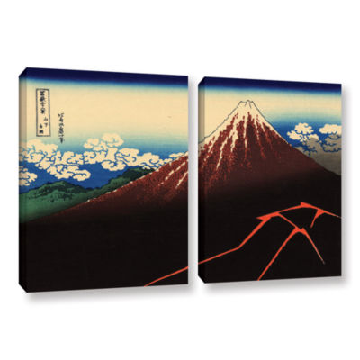 Brushstone Shower Below The Summit (Sanka Hakuu) 2-pc. Gallery Wrapped Canvas Wall Art