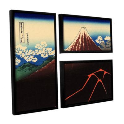 Brushstone Shower Below The Summit (Sanka Hakuu) 3-pc. Flag Floater Framed Canvas Wall Art