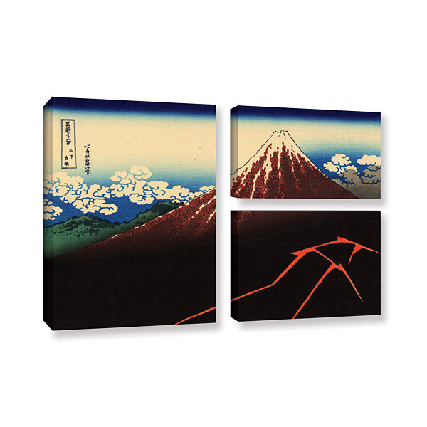 Brushstone Shower Below The Summit (Sanka Hakuu) 3-pc. Flag Gallery Wrapped Canvas Wall Art