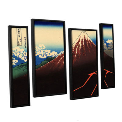 Brushstone Shower Below The Summit (Sanka Hakuu) 4-pc. Floater Framed Staggered Canvas Wall Art