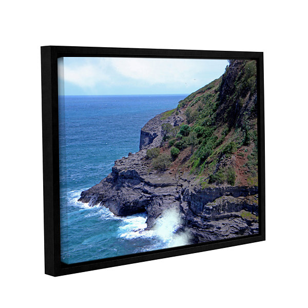 Brushstone Sea Cave And Nesting Boobies Gallery Wrapped Floater-Framed Canvas Wall Art