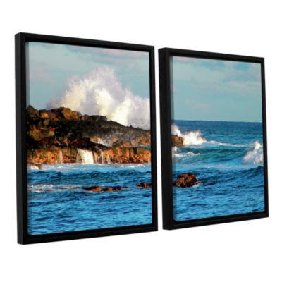 Brushstone Seascape (Rocky Coast) 2-pc. Floater Framed Canvas Wall Art