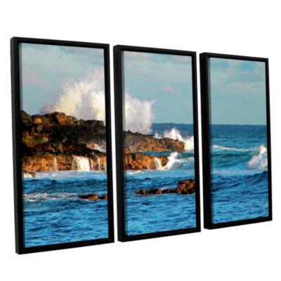 Brushstone Seascape (Rocky Coast) 3-pc. Floater Framed Canvas Wall Art