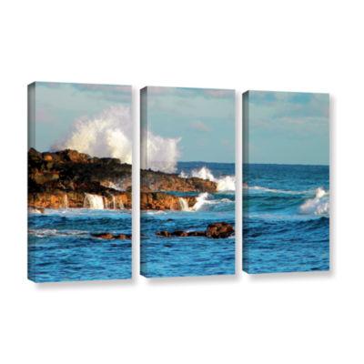 Brushstone Seascape (Rocky Coast) 3-pc. Gallery Wrapped Canvas Wall Art