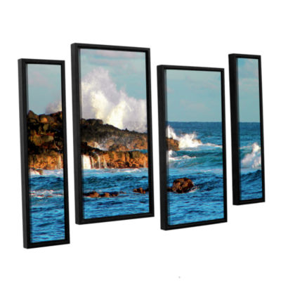 Brushstone Seascape (Rocky Coast) 4-pc. Floater Framed Staggered Canvas Wall Art