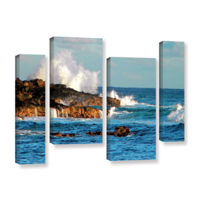 Brushstone Seascape (Rocky Coast) 4-pc. Gallery Wrapped Staggered Canvas Wall Art