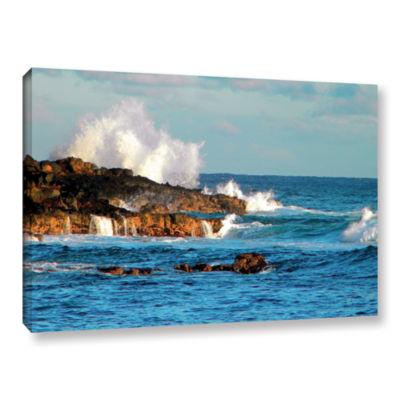 Brushstone Seascape (Rocky Coast) Gallery WrappedCanvas Wall Art