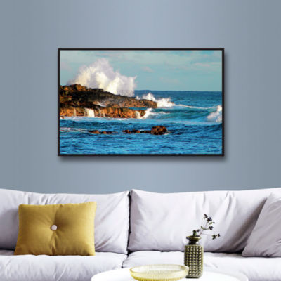 Brushstone Seascape (Rocky Coast) Gallery WrappedFloater-Framed Canvas Wall Art
