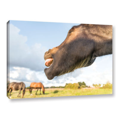 Brushstone Side Mouth Horse Gallery Wrapped CanvasWall Art
