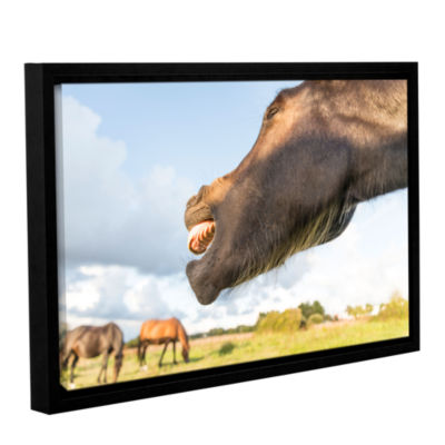 Brushstone Side Mouth Horse Gallery Wrapped Floater-Framed Canvas Wall Art