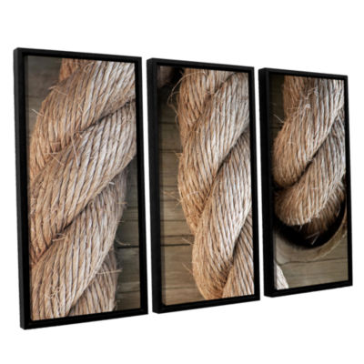 Brushstone Rope In A Hole 3-pc. Floater Framed Canvas Wall Art