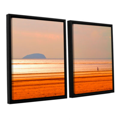 Brushstone Run Along The Orange Beach 2-pc. Floater Framed Canvas Wall Art