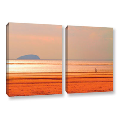 Brushstone Run Along The Orange Beach 2-pc. Gallery Wrapped Canvas Wall Art