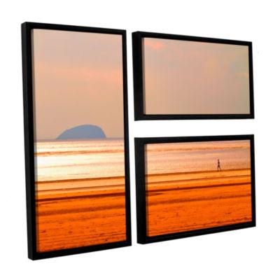 Brushstone Run Along The Orange Beach 3-pc. Flag Floater Framed Canvas Wall Art