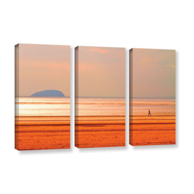 Brushstone Run Along The Orange Beach 3-pc. Gallery Wrapped Canvas Wall Art