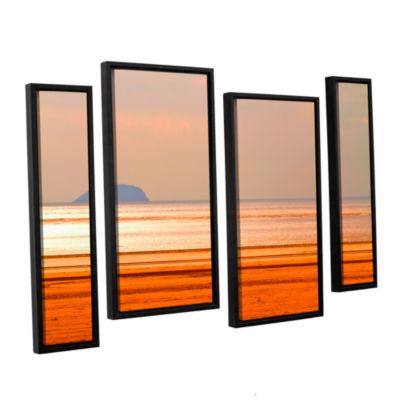Brushstone Run Along The Orange Beach 4-pc. Floater Framed Staggered Canvas Wall Art
