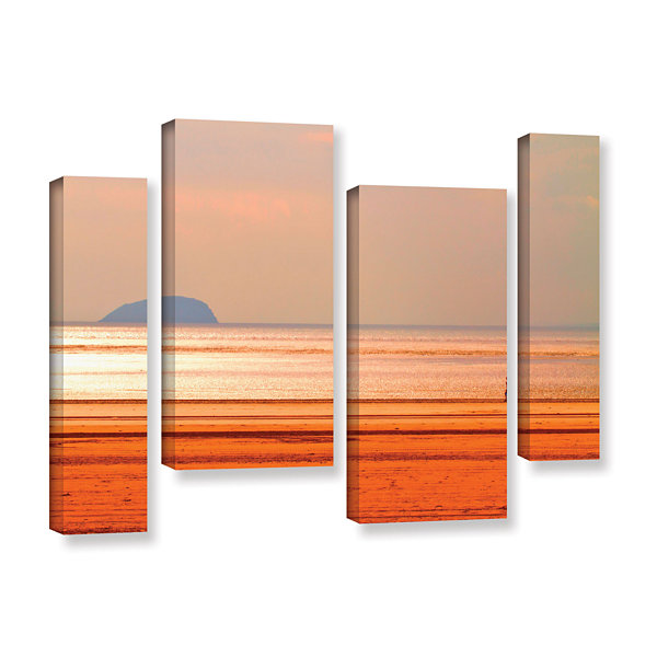 Brushstone Run Along The Orange Beach 4-pc. Gallery Wrapped Staggered Canvas Wall Art