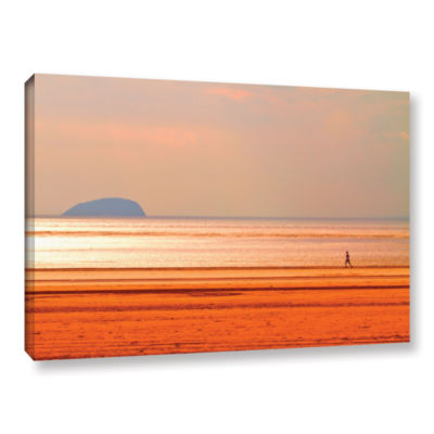 Brushstone Run Along The Orange Beach Gallery Wrapped Canvas Wall Art