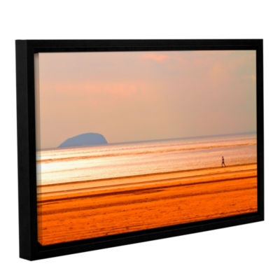 Brushstone Run Along The Orange Beach Gallery Wrapped Floater-Framed Canvas Wall Art
