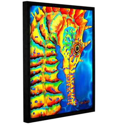 Brushstone Seahorse Gallery Wrapped Floater-FramedCanvas Wall Art