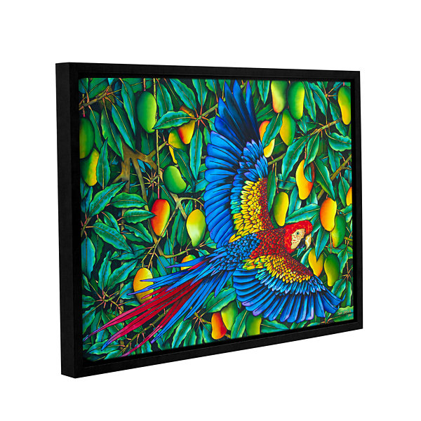 Brushstone Scarlet Macaw Gallery Wrapped Floater-Framed Canvas Wall Art