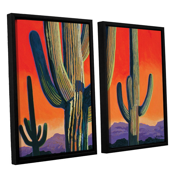 Brushstone Saguaro Dawn 2-pc. Floater Framed Canvas Wall Art