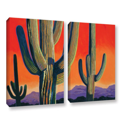 Brushstone Saguaro Dawn 2-pc. Gallery Wrapped Canvas Wall Art