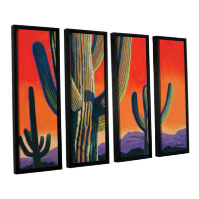 Brushstone Saguaro Dawn 4-pc. Floater Framed Canvas Wall Art