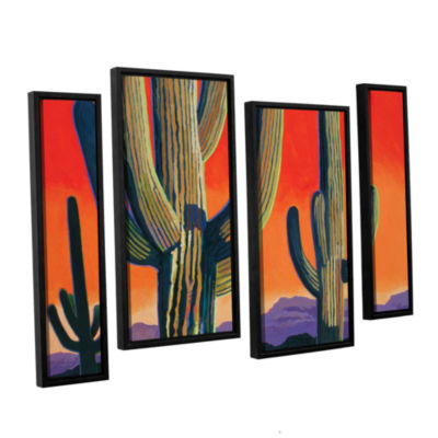 Brushstone Saguaro Dawn 4-pc. Floater Framed Staggered Canvas Wall Art