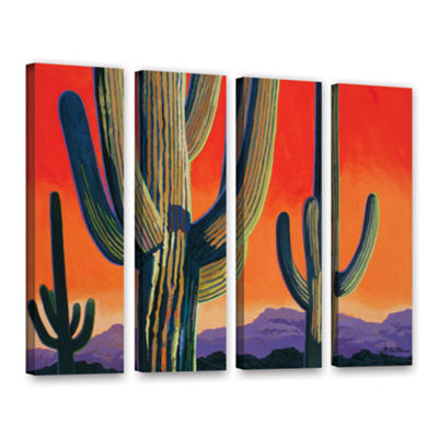 Brushstone Saguaro Dawn 4-pc. Gallery Wrapped Canvas Wall Art