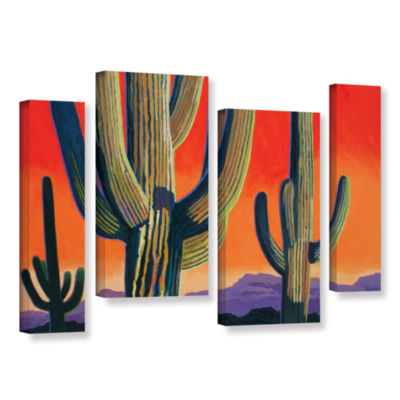 Brushstone Saguaro Dawn 4-pc. Gallery Wrapped Staggered Canvas Wall Art