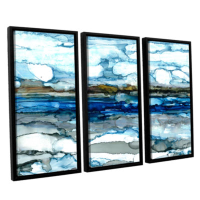 Brushstone Silver Coast 3-pc. Floater Framed Canvas Wall Art