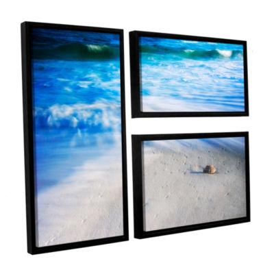 Brushstone Seashells On The Seashore 3-pc. Flag Floater Framed Canvas Wall Art