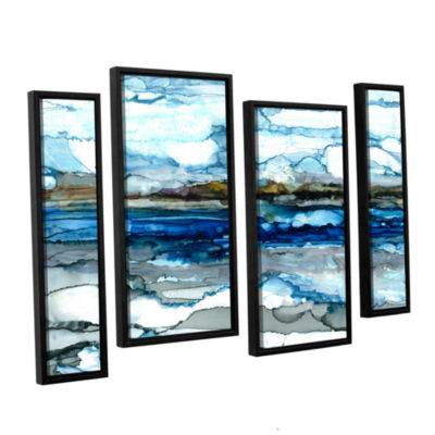 Brushstone Silver Coast 4-pc. Floater Framed Staggered Canvas Wall Art