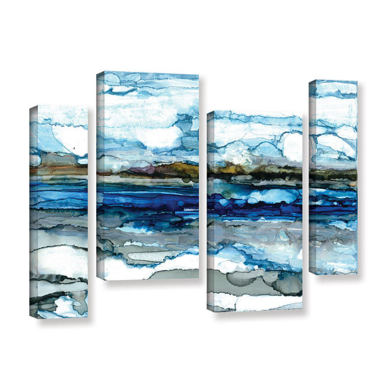 Brushstone Silver Coast 4 Pc Gallery Wrapped Staggered Canvas Wall Art