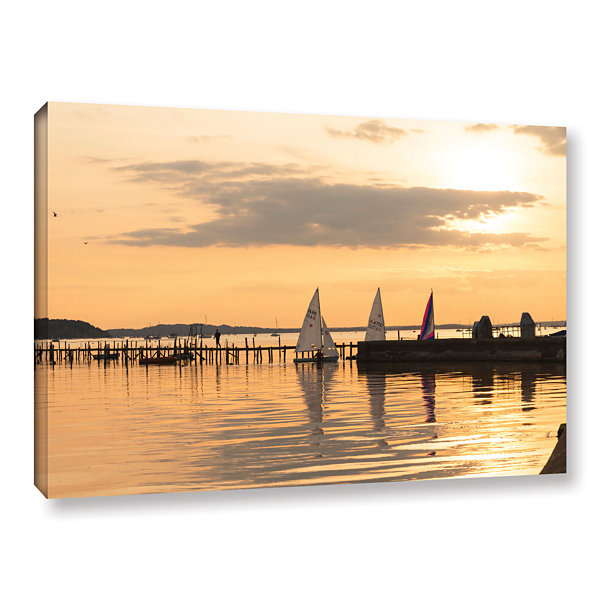 Brushstone Sailboats Docked Gallery Wrapped CanvasWall Art