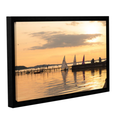 Brushstone Sailboats Docked Gallery Wrapped Floater-Framed Canvas Wall Art