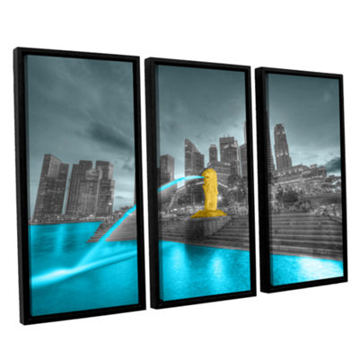Brushstone Singapore 3-pc. Floater Framed Canvas Wall Art