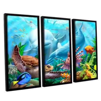 Brushstone Seavilian 3-pc. Floater Framed Canvas Wall Art