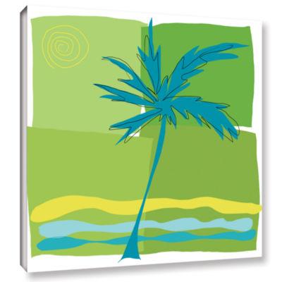 Brushstone Single Palm Gallery Wrapped Canvas WallArt