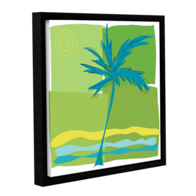 Brushstone Single Palm Gallery Wrapped Floater-Framed Canvas Wall Art