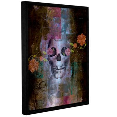 Brushstone Skull Gallery Wrapped Floater-Framed Canvas Wall Art