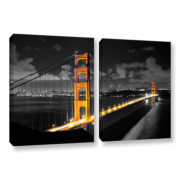 Brushstone San Francisco Bridge I 2-pc. Gallery Wrapped Canvas Wall Art