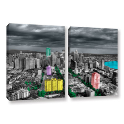 Brushstone Seattle 2-pc. Gallery Wrapped Canvas Wall Art
